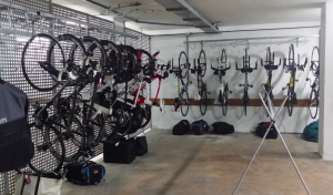 Bikes racked ready to be loaded onto the bike shuttle